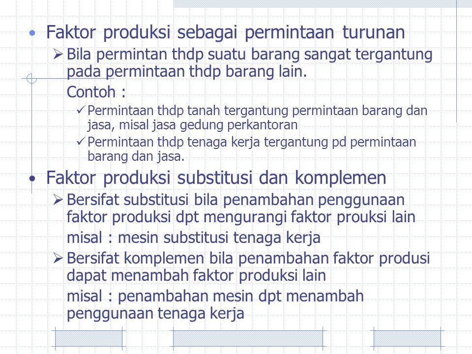 Faktor produksi sebagai permintaan turunan  Bila permintan thdp suatu barang sangat tergantung pada permintaan thdp barang lain. Contoh : Permintaan