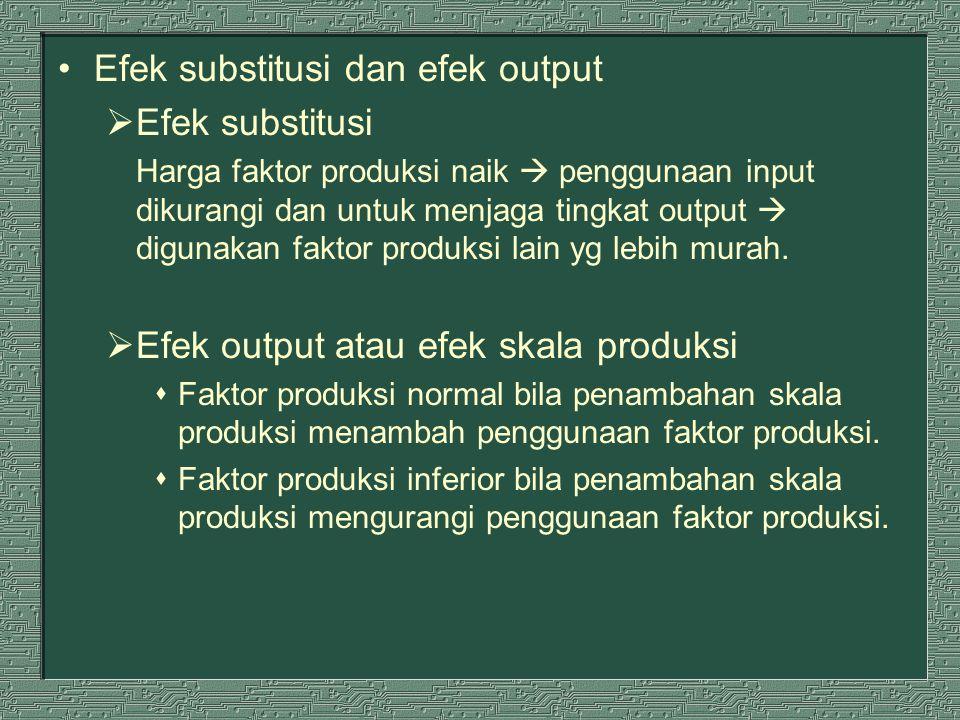 Efek substitusi dan efek output  Efek substitusi Harga faktor produksi naik  penggunaan input dikurangi dan untuk menjaga tingkat output  digunakan