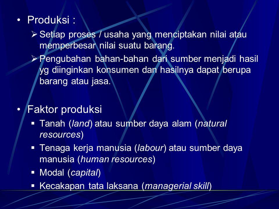 Produksi :  Setiap proses / usaha yang menciptakan nilai atau memperbesar nilai suatu barang.  Pengubahan bahan-bahan dari sumber menjadi hasil yg d
