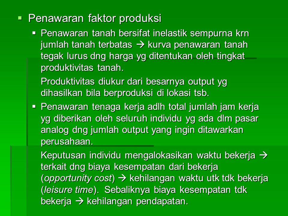  Penawaran faktor produksi  Penawaran tanah bersifat inelastik sempurna krn jumlah tanah terbatas  kurva penawaran tanah tegak lurus dng harga yg d
