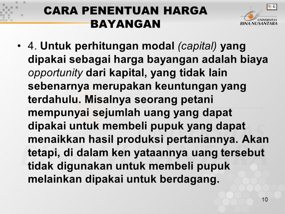 10 CARA PENENTUAN HARGA BAYANGAN 4. Untuk perhitungan modal (capital) yang dipakai sebagai harga bayangan adalah biaya opportunity dari kapital, yang
