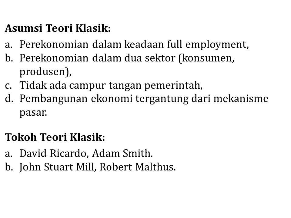 Asumsi Teori Klasik: a.Perekonomian dalam keadaan full employment, b.Perekonomian dalam dua sektor (konsumen, produsen), c.Tidak ada campur tangan pem