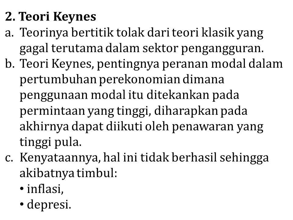 2. Teori Keynes a.Teorinya bertitik tolak dari teori klasik yang gagal terutama dalam sektor pengangguran. b.Teori Keynes, pentingnya peranan modal da
