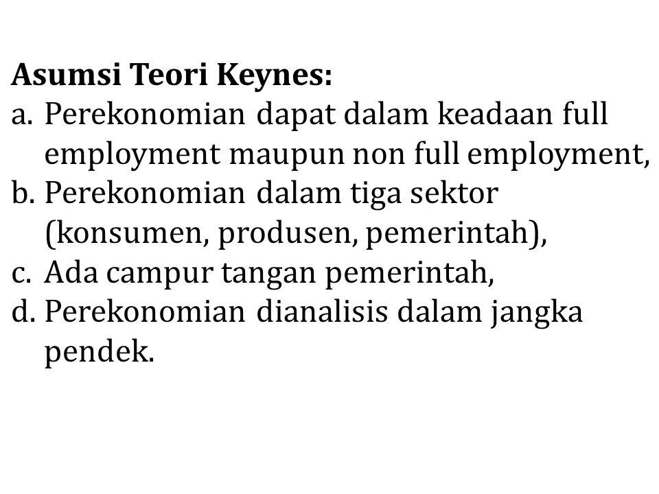 Asumsi Teori Keynes: a.Perekonomian dapat dalam keadaan full employment maupun non full employment, b.Perekonomian dalam tiga sektor (konsumen, produs