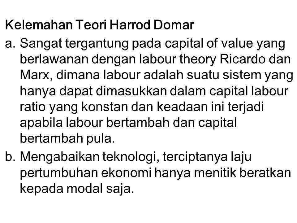 Kelemahan Teori Harrod Domar a.Sangat tergantung pada capital of value yang berlawanan dengan labour theory Ricardo dan Marx, dimana labour adalah sua