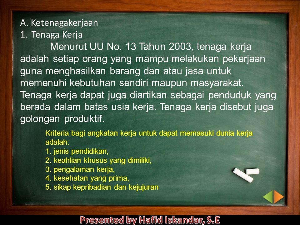 A.Ketenagakerjaan 1.Tenaga Kerja Menurut UU No.