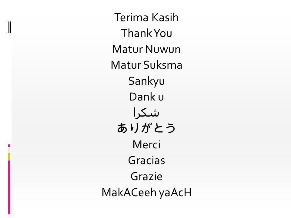 Terima Kasih Thank You Matur Nuwun Matur Suksma Sankyu Dank u شكرا ありがとう Merci Gracias Grazie MakACeeh yaAcH