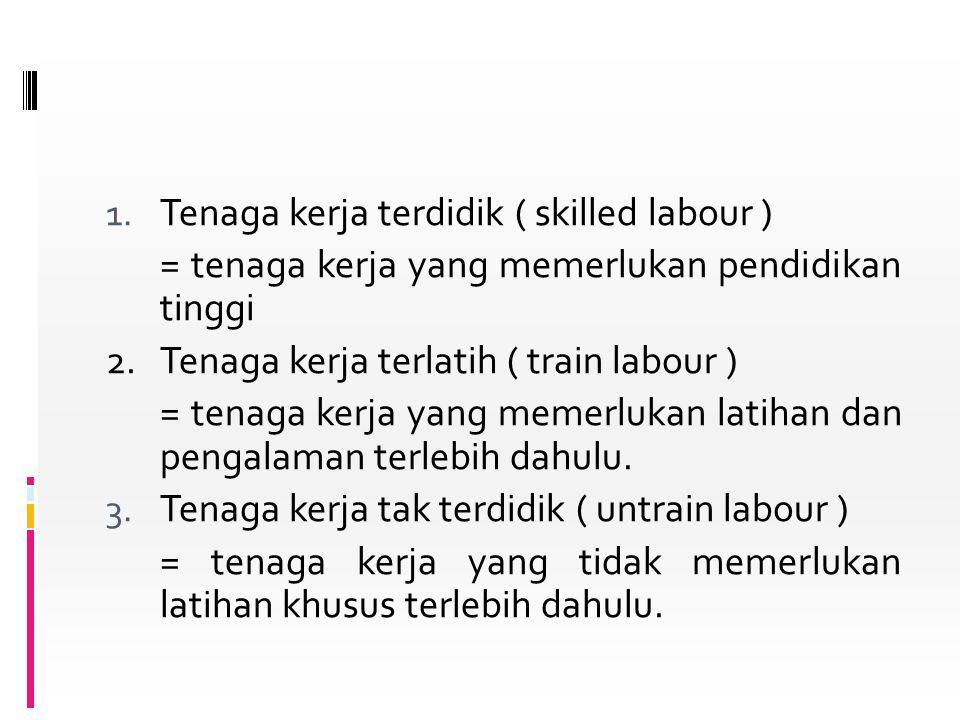 1. Tenaga kerja terdidik ( skilled labour ) = tenaga kerja yang memerlukan pendidikan tinggi 2. Tenaga kerja terlatih ( train labour ) = tenaga kerja