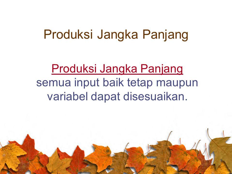 Produksi Jangka Panjang Produksi Jangka Panjang semua input baik tetap maupun variabel dapat disesuaikan.