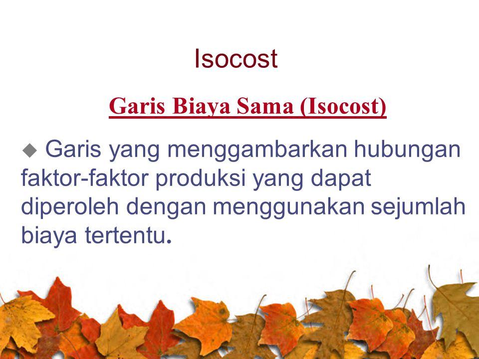 Isocost Garis Biaya Sama (Isocost)  Garis yang menggambarkan hubungan faktor-faktor produksi yang dapat diperoleh dengan menggunakan sejumlah biaya t