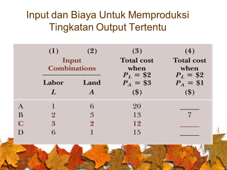 Input dan Biaya Untuk Memproduksi Tingkatan Output Tertentu