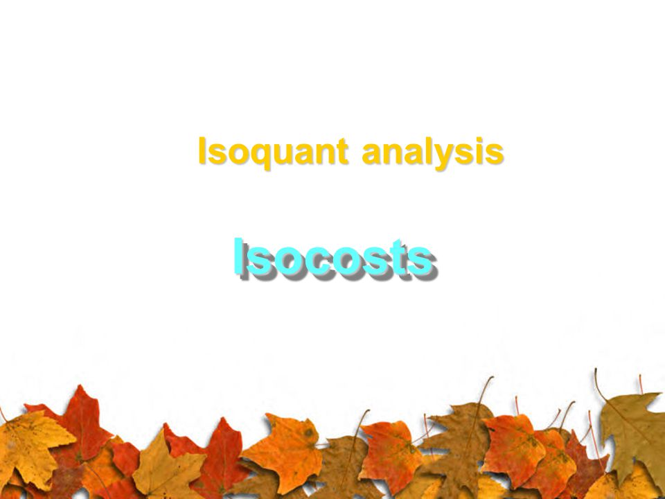 IsocostsIsocosts Isoquant analysis