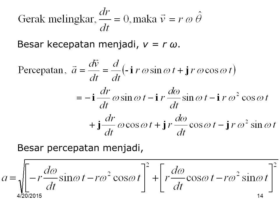 4/20/201514 Besar kecepatan menjadi, v = r ω. Besar percepatan menjadi,