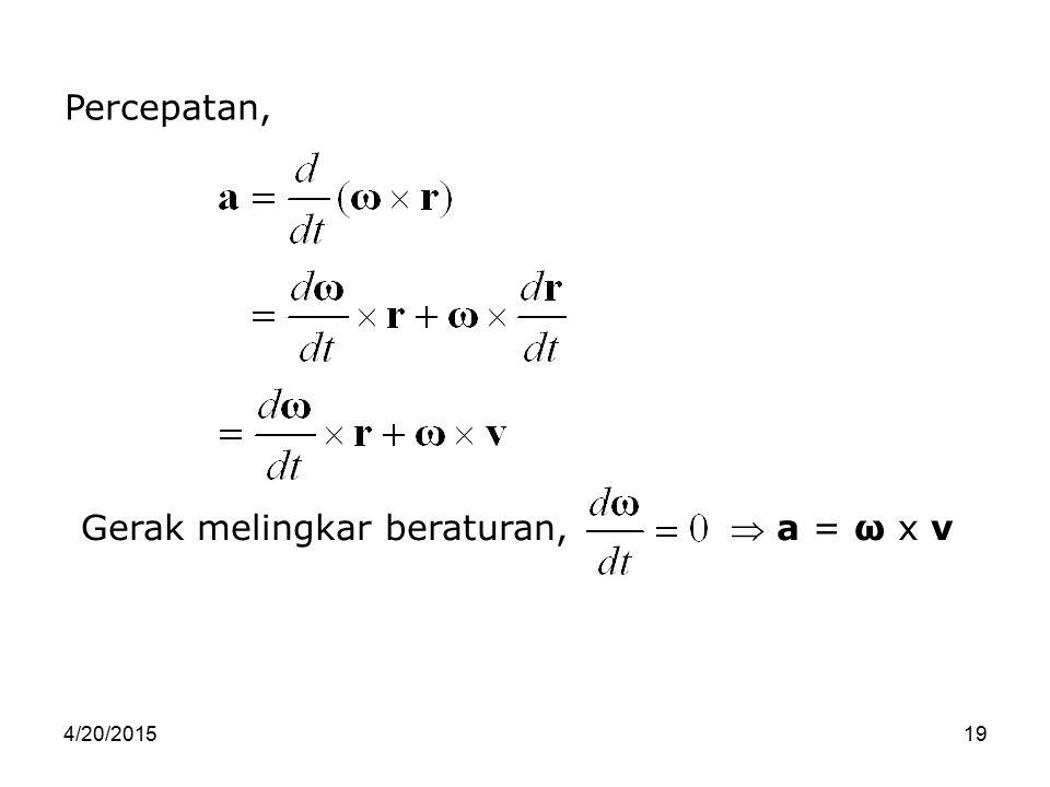 4/20/201519 Percepatan, Gerak melingkar beraturan,  a = ω x v