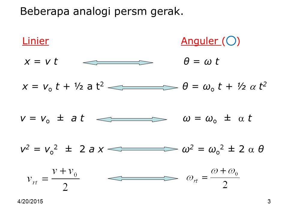 4/20/20153 x = v o t + ½ a t 2 θ = ω o t + ½  t 2 x = v t θ = ω t v = v o ± a t ω = ω o ±  t v 2 = v o 2 ± 2 a x ω 2 = ω o 2 ± 2  θ Beberapa analog