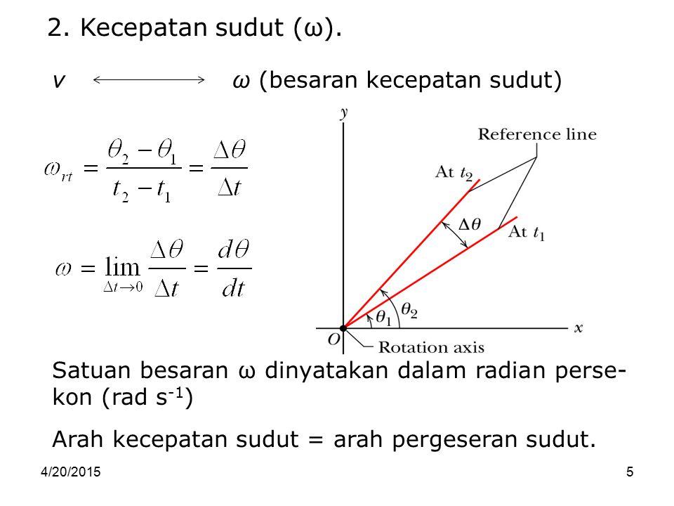 4/20/20155 Satuan besaran ω dinyatakan dalam radian perse- kon (rad s -1 ) 2. Kecepatan sudut (ω). Arah kecepatan sudut = arah pergeseran sudut. v ω (