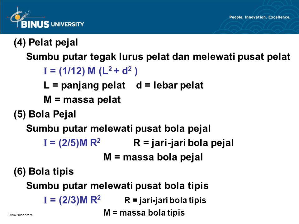 Bina Nusantara (4) Pelat pejal Sumbu putar tegak lurus pelat dan melewati pusat pelat I = (1/12) M (L 2 + d 2 ) L = panjang pelat d = lebar pelat M = massa pelat (5) Bola Pejal Sumbu putar melewati pusat bola pejal I = (2/5)M R 2 R = jari-jari bola pejal M = massa bola pejal (6) Bola tipis Sumbu putar melewati pusat bola tipis I = (2/3)M R 2 R = jari-jari bola tipis M = massa bola tipis