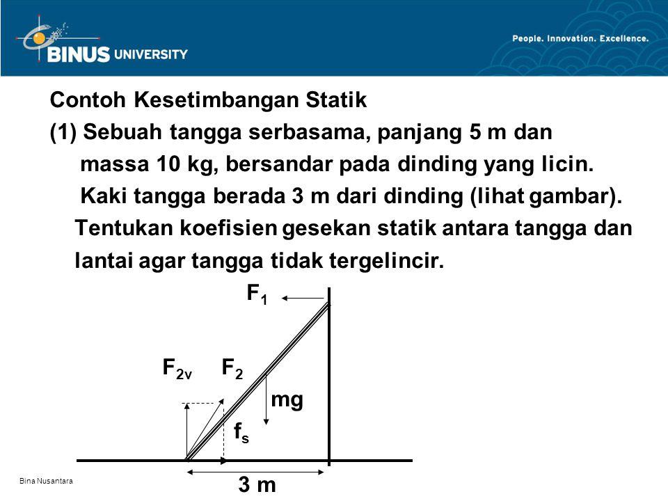 Bina Nusantara Contoh Kesetimbangan Statik (1) Sebuah tangga serbasama, panjang 5 m dan massa 10 kg, bersandar pada dinding yang licin.