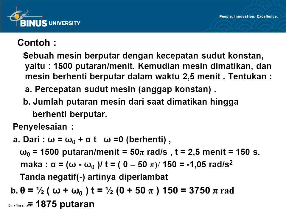 Bina Nusantara Contoh : Sebuah mesin berputar dengan kecepatan sudut konstan, yaitu : 1500 putaran/menit.