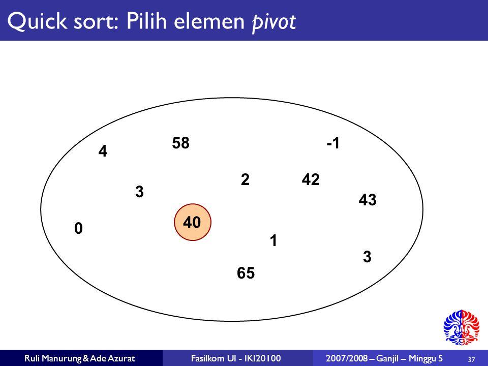 37 Ruli Manurung & Ade AzuratFasilkom UI - IKI201002007/2008 – Ganjil – Minggu 5 40 2 1 3 43 65 0 58 3 42 4 Quick sort: Pilih elemen pivot