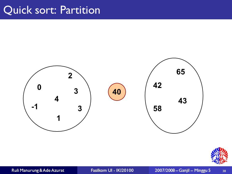38 Ruli Manurung & Ade AzuratFasilkom UI - IKI201002007/2008 – Ganjil – Minggu 5 40 2 1 3 43 65 0 583 42 4 Quick sort: Partition