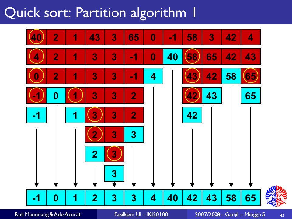 42 Ruli Manurung & Ade AzuratFasilkom UI - IKI201002007/2008 – Ganjil – Minggu 5 3210344042435865 213342 21303434265 21303442655843 4021433650583424 4021433650583424 332 32 3 Quick sort: Partition algorithm 1