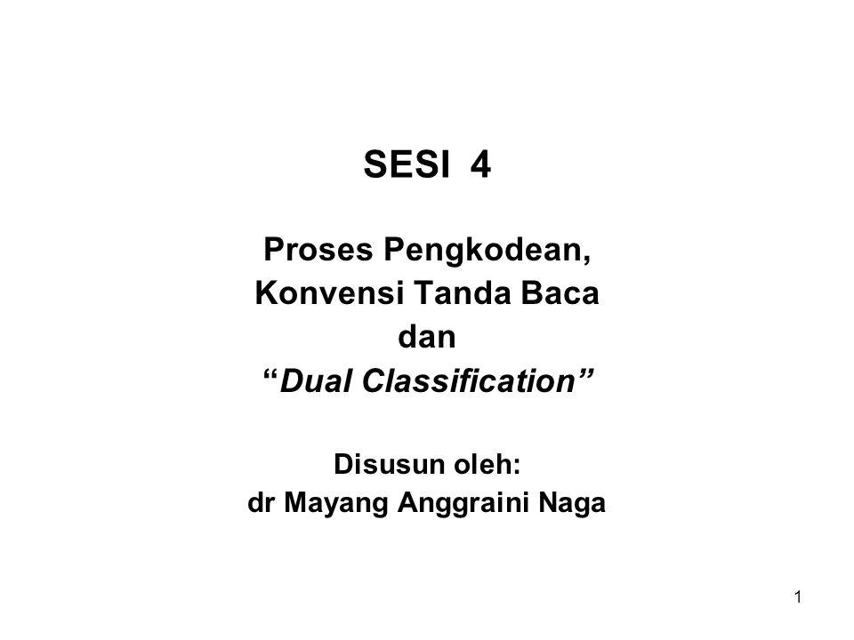 1 SESI 4 Proses Pengkodean, Konvensi Tanda Baca dan Dual Classification Disusun oleh: dr Mayang Anggraini Naga