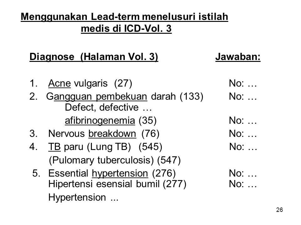 26 Menggunakan Lead-term menelusuri istilah medis di ICD-Vol.