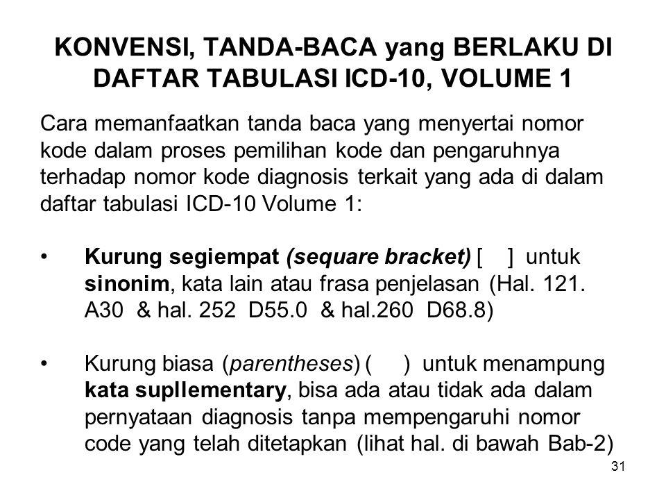 31 KONVENSI, TANDA-BACA yang BERLAKU DI DAFTAR TABULASI ICD-10, VOLUME 1 Cara memanfaatkan tanda baca yang menyertai nomor kode dalam proses pemilihan kode dan pengaruhnya terhadap nomor kode diagnosis terkait yang ada di dalam daftar tabulasi ICD-10 Volume 1: Kurung segiempat (sequare bracket) [ ] untuk sinonim, kata lain atau frasa penjelasan (Hal.