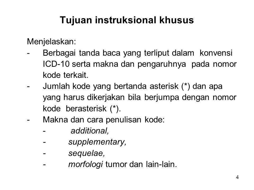 4 Tujuan instruksional khusus Menjelaskan: -Berbagai tanda baca yang terliput dalam konvensi ICD-10 serta makna dan pengaruhnya pada nomor kode terkait.