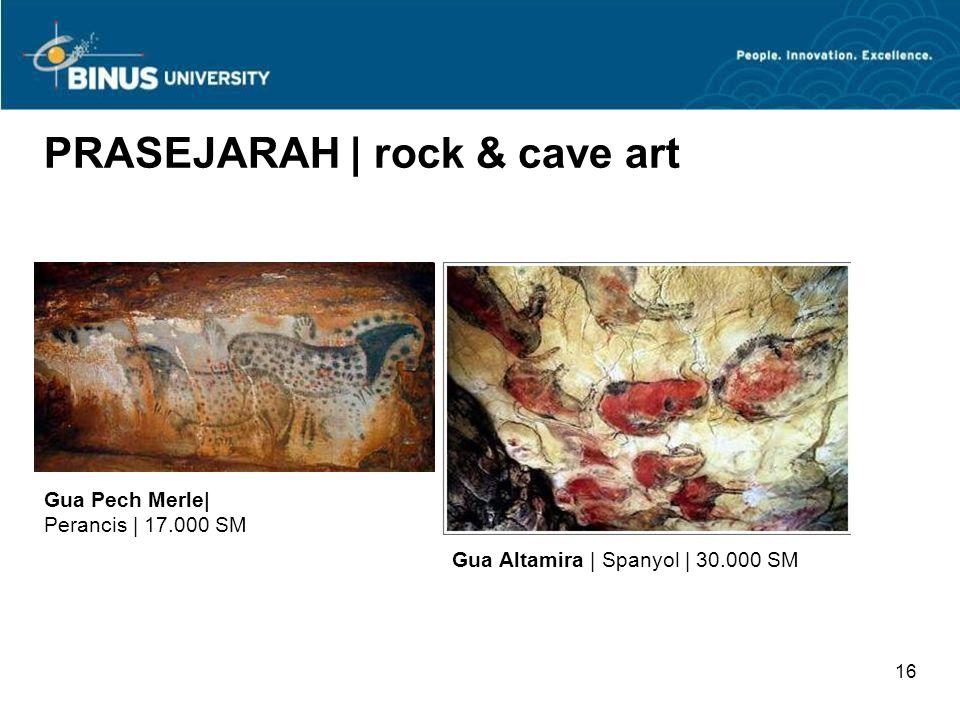 15 PRASEJARAH | rock & cave art Gua Lascaux | Perancis | c. 30.000-15.000 SM Gua Chauvet | Perancis | 25.000-17.000 SM