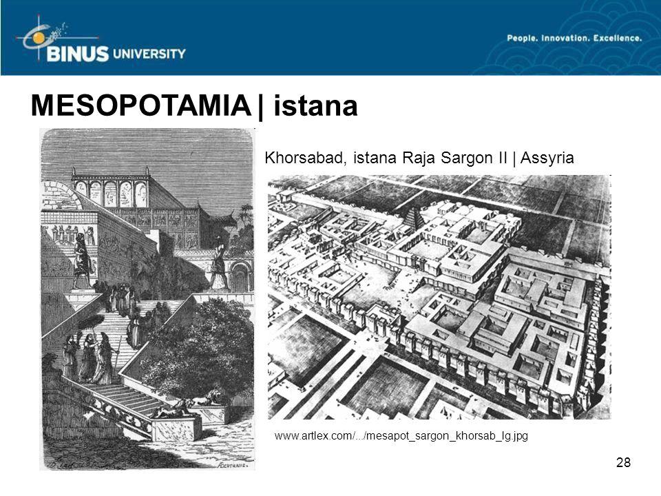 27 MESOPOTAMIA | istana Rekonstruksi ruang tahta Raja Assurbanipal II, Nimrud | Assyria Patung Lamassu, dewa penjaga istana dan kota Assyria