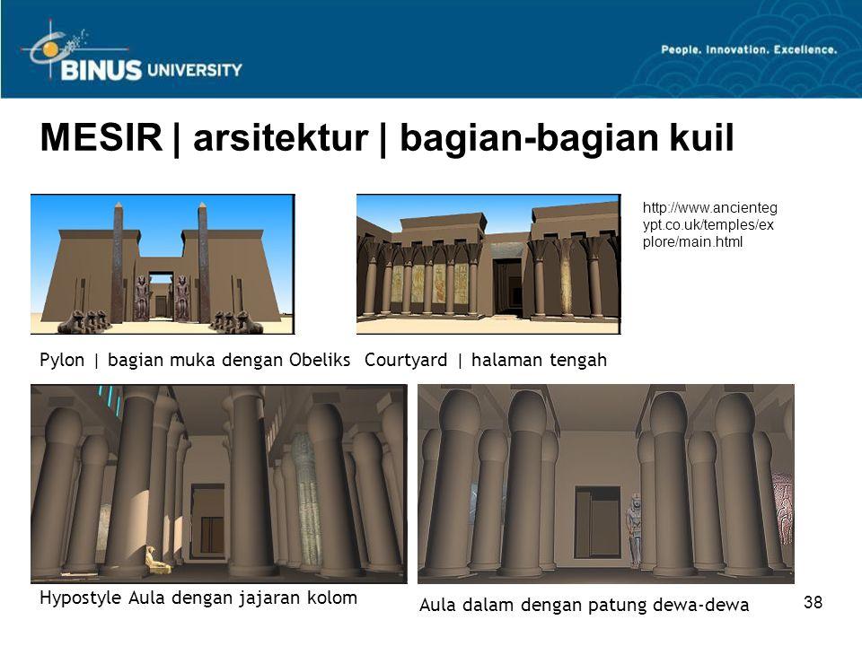 37 MESIR | arsitektur | kuil Kuil Ratu Hatshepsut | 1480 BC Kuil Amun Mut Khon di Luxor | c.1390 BC Kuil Abu Simbel Kuil Karnak