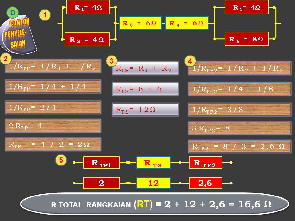 R 4 = 6Ω R 1 = 4ΩR 2 = 4Ω R 3 = 6Ω R TOTAL RANGKAIAN (RT) = 2 + 12 + 2,6 = 16,6 Ω 1 D 1/R TP = 1/R 1 + 1/R 2 1/R TP = 1/4 + 1/4 1/R TP = 2/4 2 R TP =