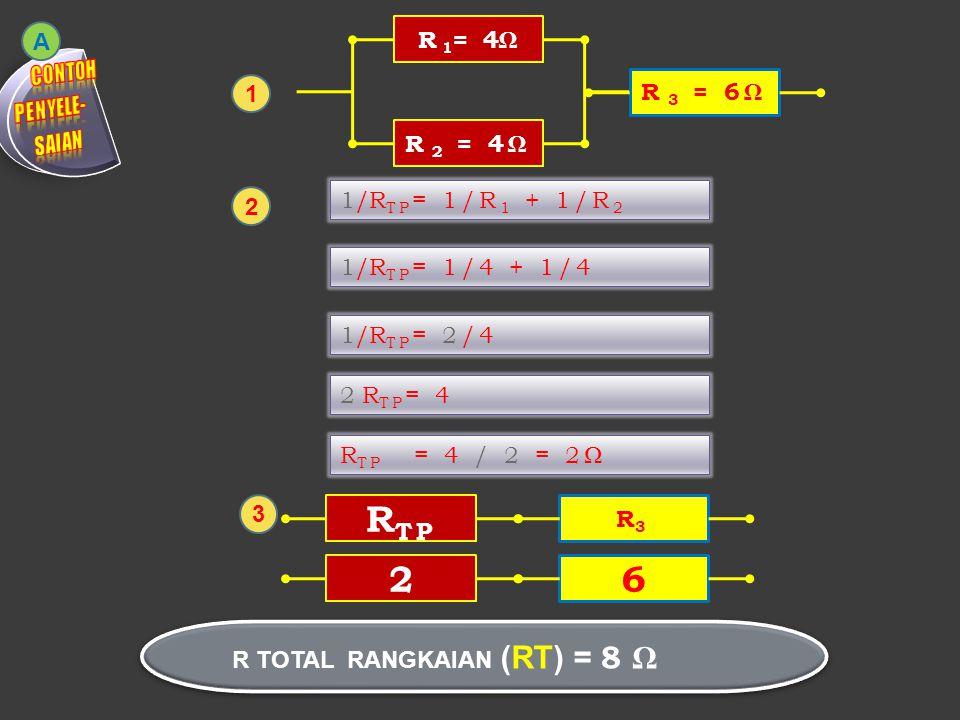 R 1 = 4ΩR 2 = 4Ω R 3 = 6Ω R TP R3R3 R TOTAL RANGKAIAN (RT) = 8 Ω 1 2 A 1/R TP = 1/R 1 + 1/R 2 1/R TP = 1/4 + 1/4 1/R TP = 2/4 2 R TP = 4 R TP = 4 / 2