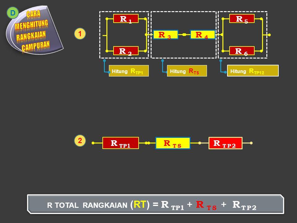 R 4 = 6Ω R 1 = 4ΩR 2 = 4Ω R 3 = 6Ω R TOTAL RANGKAIAN (RT) = 2 + 12 + 2,6 = 16,6 Ω 1 D 1/R TP = 1/R 1 + 1/R 2 1/R TP = 1/4 + 1/4 1/R TP = 2/4 2 R TP = 4 R TP = 4 / 2 = 2Ω R TS = R 1 + R 2 R TS = 6 + 6 R TS = 12Ω 2 R 5 = 4ΩR 6 = 8Ω 1/R TP2 = 1/R 2 + 1/R 3 1/R TP2 = 1/4 + 1/8 1/R TP2 = 3/8 3 R TP2 = 8 R TP2 = 8 / 3 = 2,6 Ω 34 R TP1 R TS R TP2 5 2 122,6