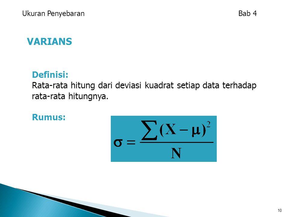 10 VARIANS Ukuran Penyebaran Bab 4 Definisi: Rata-rata hitung dari deviasi kuadrat setiap data terhadap rata-rata hitungnya. Rumus:
