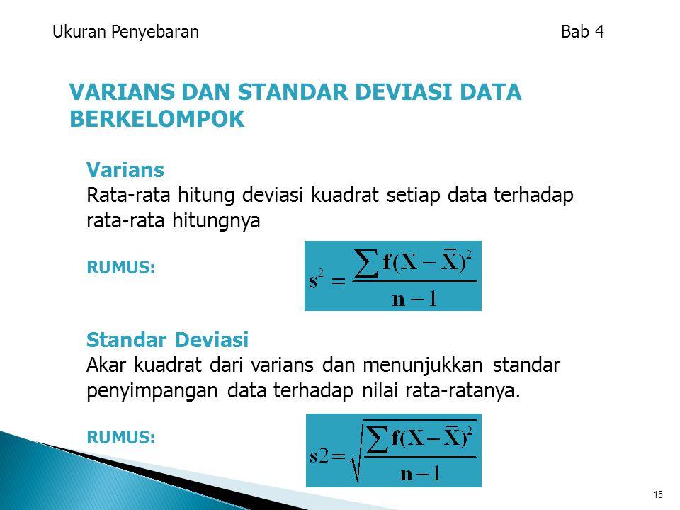 15 VARIANS DAN STANDAR DEVIASI DATA BERKELOMPOK Varians Rata-rata hitung deviasi kuadrat setiap data terhadap rata-rata hitungnya RUMUS: Standar Devia