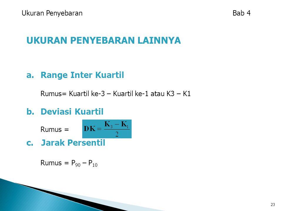 23 UKURAN PENYEBARAN LAINNYA a.Range Inter Kuartil Rumus= Kuartil ke-3 – Kuartil ke-1 atau K3 – K1 b.Deviasi Kuartil Rumus = c. Jarak Persentil Rumus