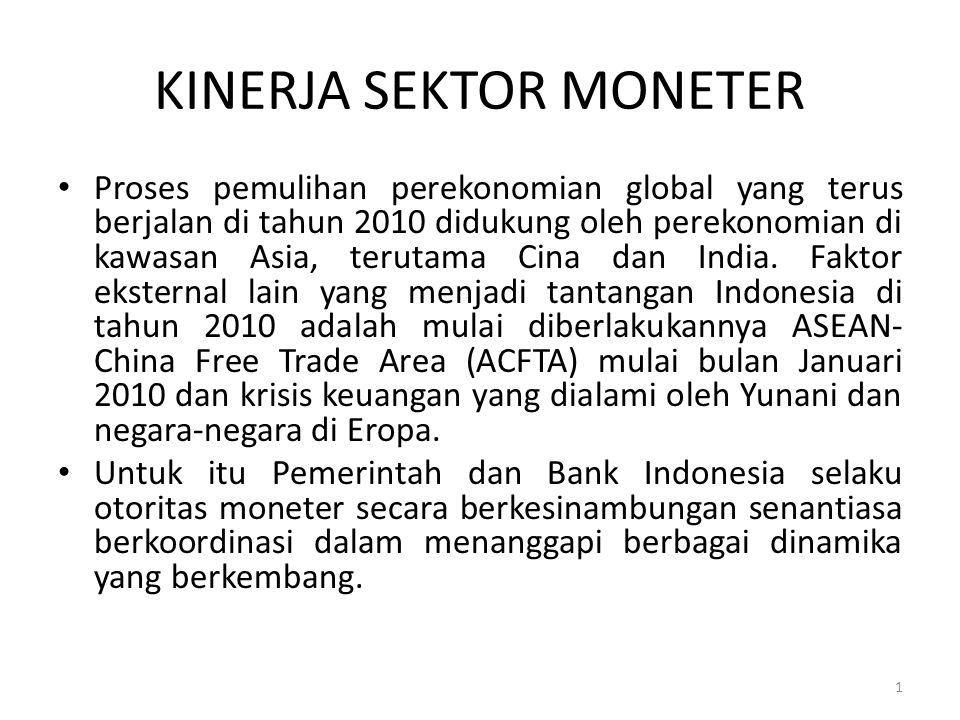 KINERJA SEKTOR MONETER Proses pemulihan perekonomian global yang terus berjalan di tahun 2010 didukung oleh perekonomian di kawasan Asia, terutama Cin
