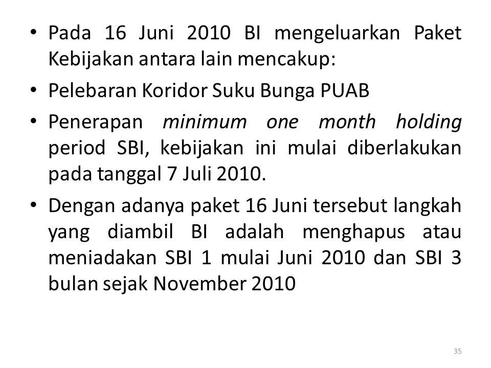Pada 16 Juni 2010 BI mengeluarkan Paket Kebijakan antara lain mencakup: Pelebaran Koridor Suku Bunga PUAB Penerapan minimum one month holding period SBI, kebijakan ini mulai diberlakukan pada tanggal 7 Juli 2010.