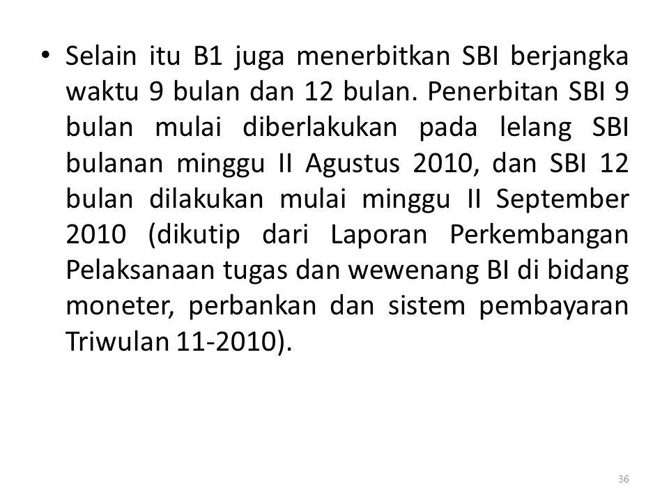Selain itu B1 juga menerbitkan SBI berjangka waktu 9 bulan dan 12 bulan. Penerbitan SBI 9 bulan mulai diberlakukan pada lelang SBI bulanan minggu II A