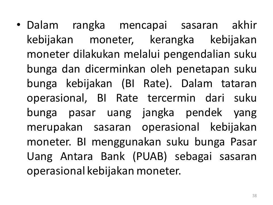 Dalam rangka mencapai sasaran akhir kebijakan moneter, kerangka kebijakan moneter dilakukan melalui pengendalian suku bunga dan dicerminkan oleh penetapan suku bunga kebijakan (BI Rate).