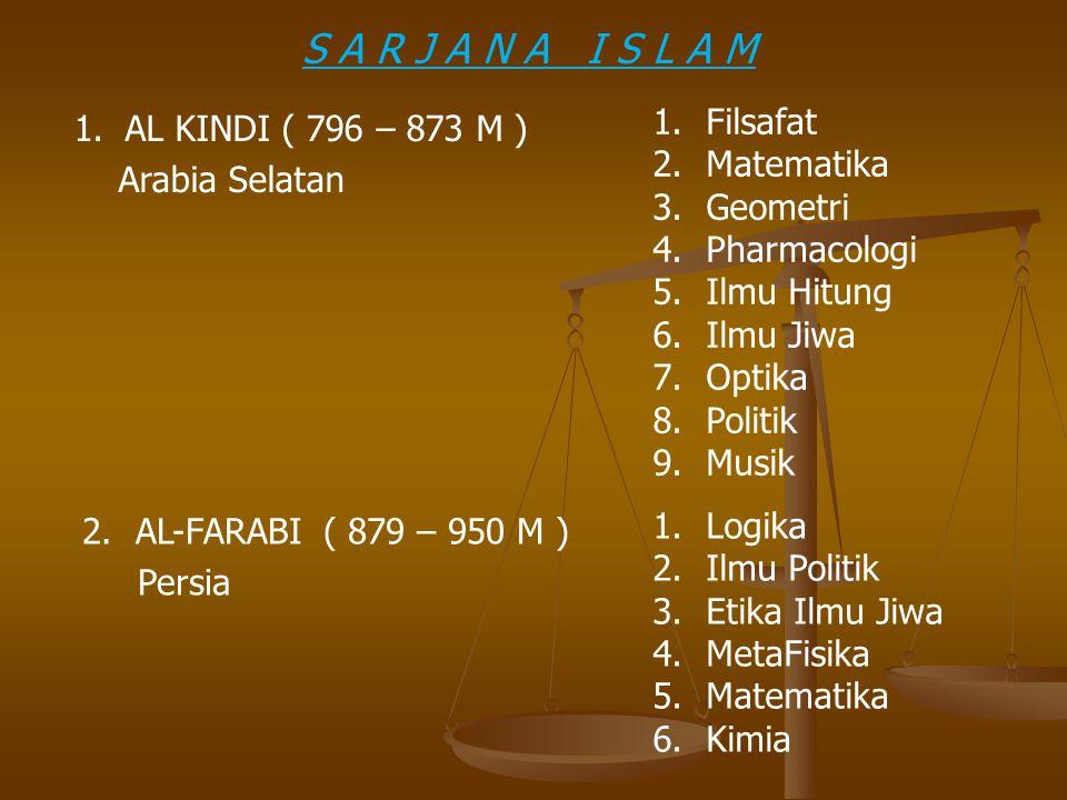 1. AL KINDI ( 796 – 873 M ) Arabia Selatan 1.Filsafat 2.Matematika 3.Geometri 4.Pharmacologi 5.Ilmu Hitung 6.Ilmu Jiwa 7.Optika 8.Politik 9.Musik 2.AL