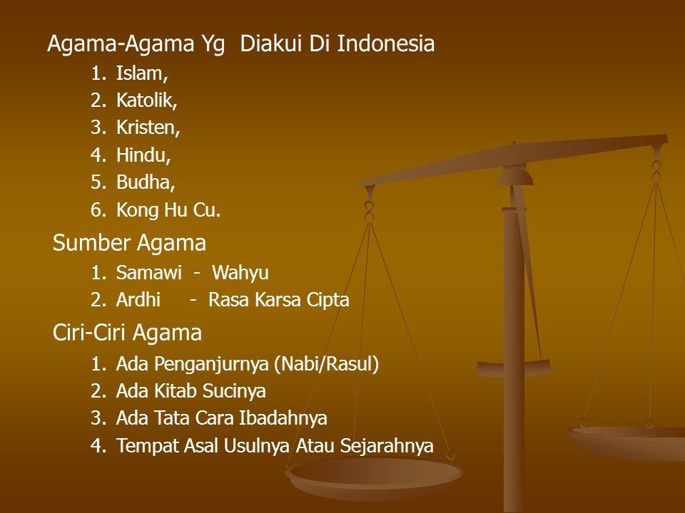 Agama-Agama Yg Diakui Di Indonesia 1.Islam, 2.Katolik, 3.Kristen, 4.Hindu, 5.Budha, 6.Kong Hu Cu. Sumber Agama Ciri-Ciri Agama 1.Samawi - Wahyu 2.Ardh