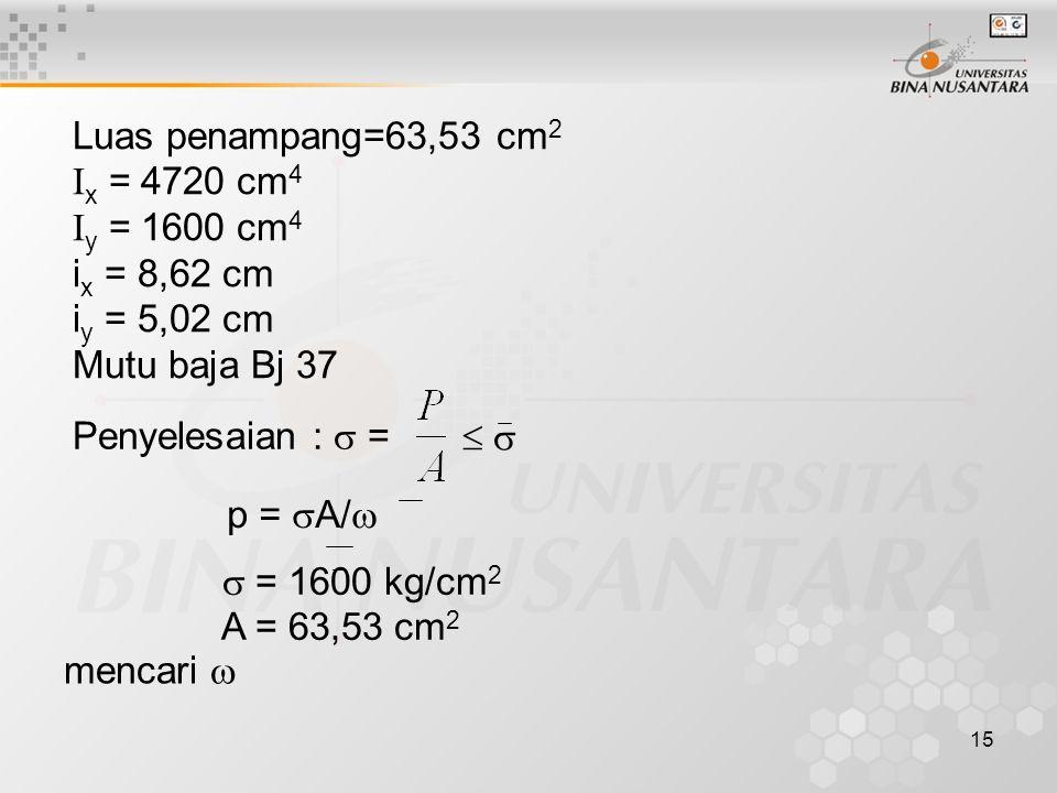 15 Luas penampang=63,53 cm 2 I x = 4720 cm 4 I y = 1600 cm 4 i x = 8,62 cm i y = 5,02 cm Mutu baja Bj 37 Penyelesaian :  =     p =  A/   = 160