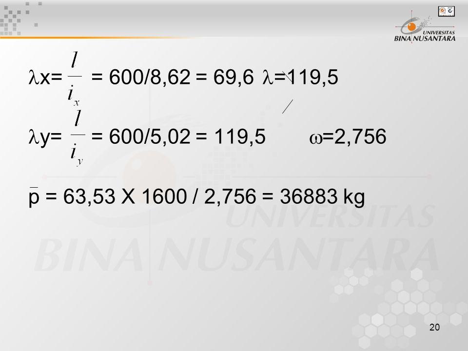 20 x= = 600/8,62 = 69,6 =119,5 y= = 600/5,02 = 119,5  =2,756 p = 63,53 X 1600 / 2,756 = 36883 kg