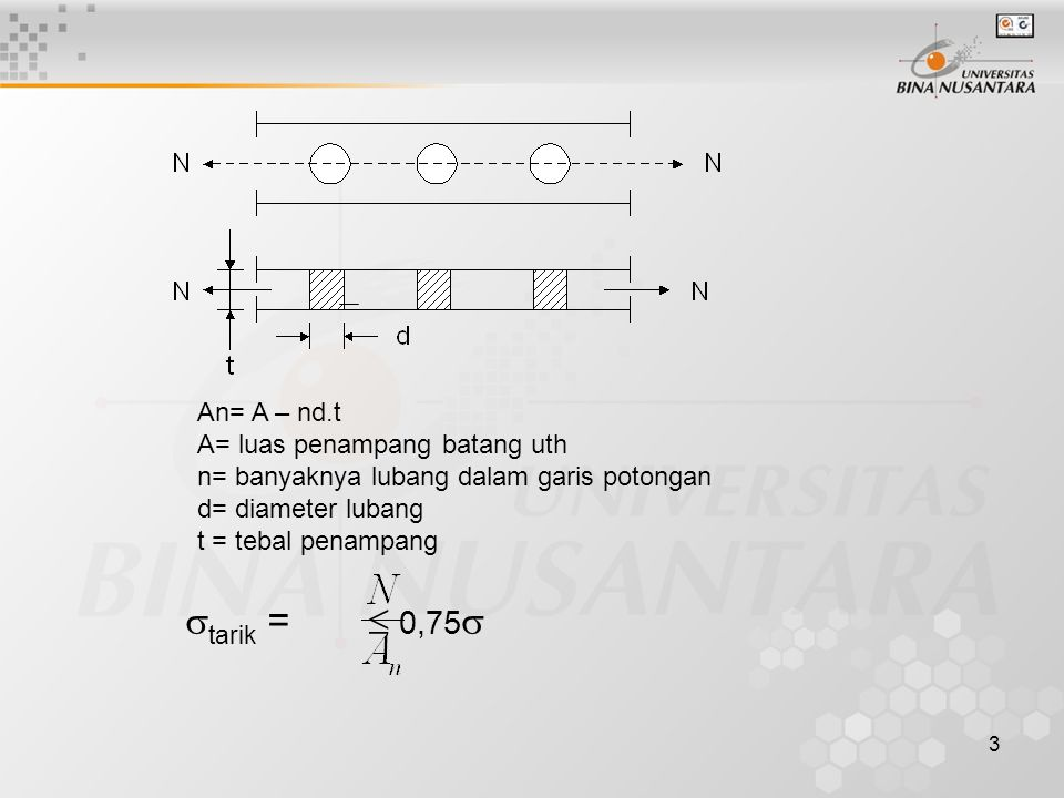 3 An= A – nd.t A= luas penampang batang uth n= banyaknya lubang dalam garis potongan d= diameter lubang t = tebal penampang  tarik =  0,75 