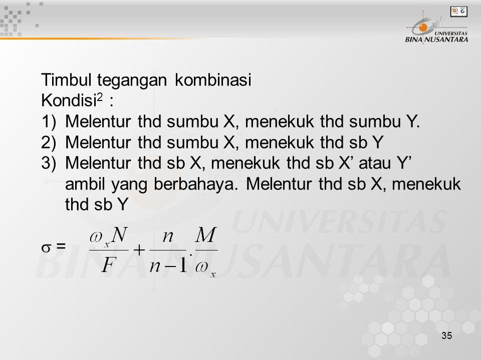 35 Timbul tegangan kombinasi Kondisi 2 : 1)Melentur thd sumbu X, menekuk thd sumbu Y. 2)Melentur thd sumbu X, menekuk thd sb Y 3)Melentur thd sb X, me