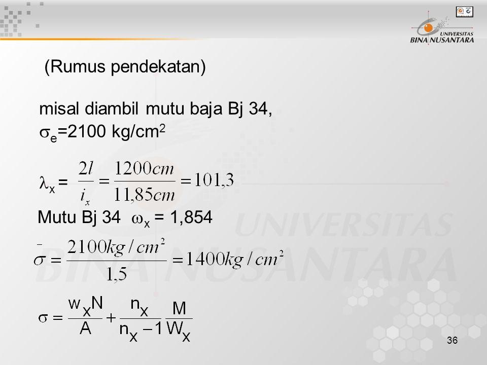 36 (Rumus pendekatan) misal diambil mutu baja Bj 34,  e =2100 kg/cm 2 x = Mutu Bj 34  x = 1,854
